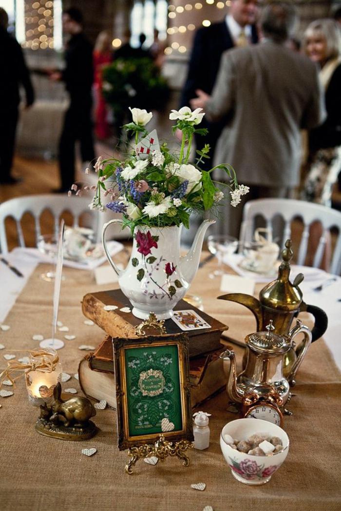 Disney-Alice-au-pays-des-merveilles-gâteau-mariage-fête-décoration-de-table