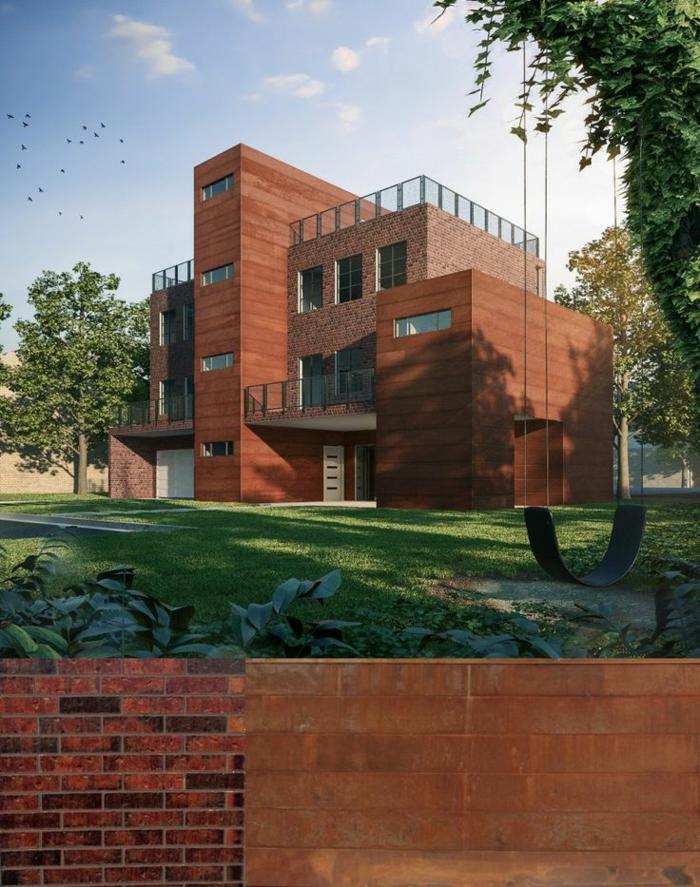 acier-auto-protecteur-architecture-moderne-idées-acier-inoxydable-cubique-maison