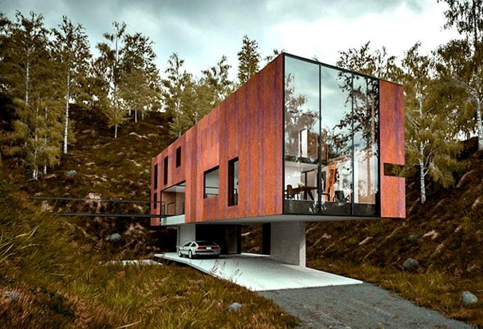 acier-patinable-sculpture-acier-faire-maison-contemporaine-maison-cubique