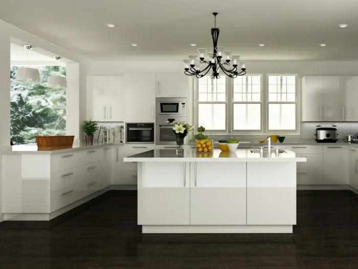 aménagement-idee-deco-cuisine-photo-cuisine-blanc-laqué-belle-bien-amenagee