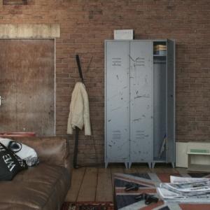 L' armoire métallique apporte l'esprit industriel à la maison