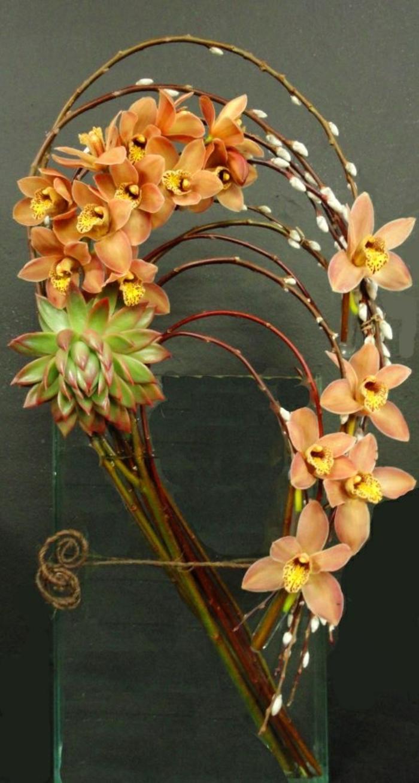 art-foral-moderne-branches-tordus-et-orchidées-oranges
