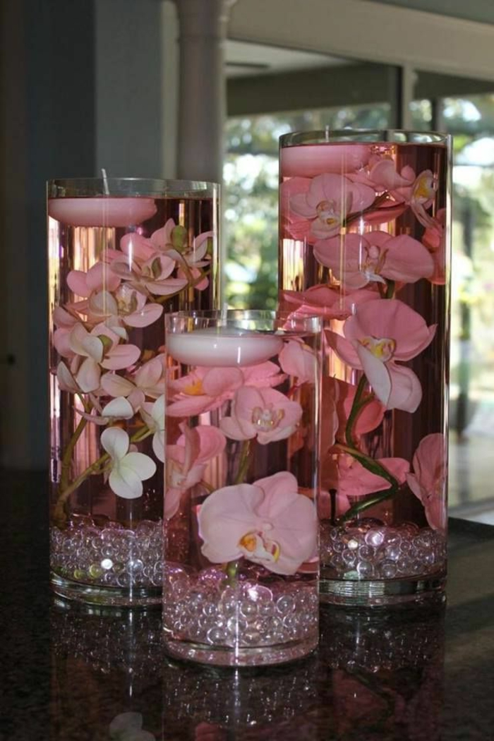 art-foral-moderne-orchidées-submergées-roses