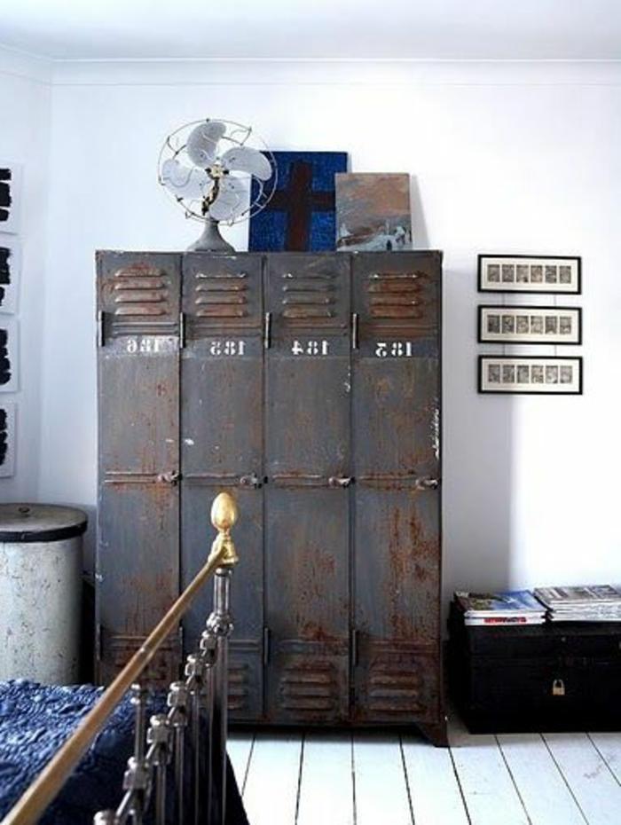 L 39 armoire m tallique apporte l 39 esprit industriel la maison - Chambre industriel deco ...