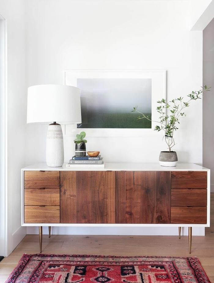 bahut-conforama-pas-cher-en-bois-foncé-avec-une-jolie-peinture-art-sol-en-parquette