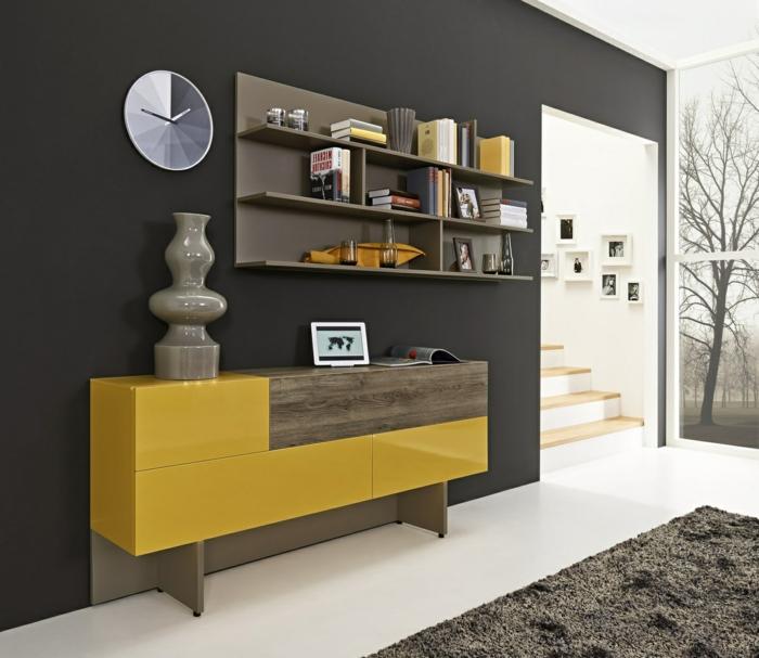 Le meilleur bahut moderne en 53 photos pour vous inspirer - Mur gris et jaune ...