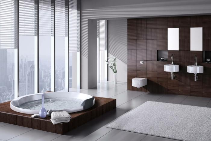 baignoire-ronde-espace-moderne-super-élégant-déco-bois-et-blanc