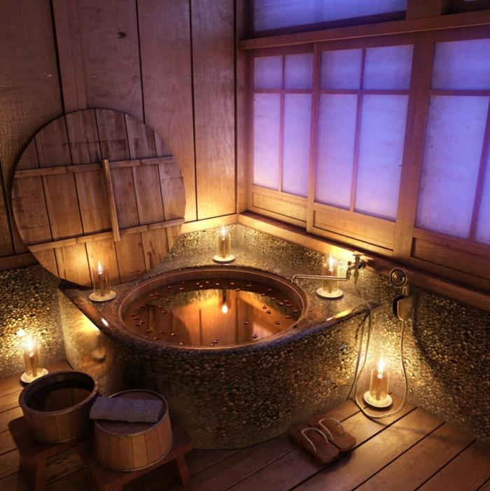 baignoire-ronde-unique-sol-en-planches-de-bois-décoration-rustique