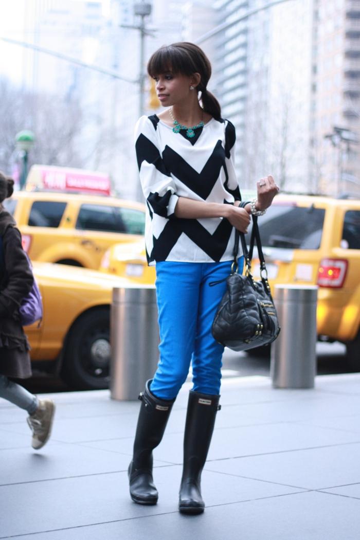 botte-de-pluie-femme-idées-tenue-de-jour-autome-hiver-femme-new-yorkais