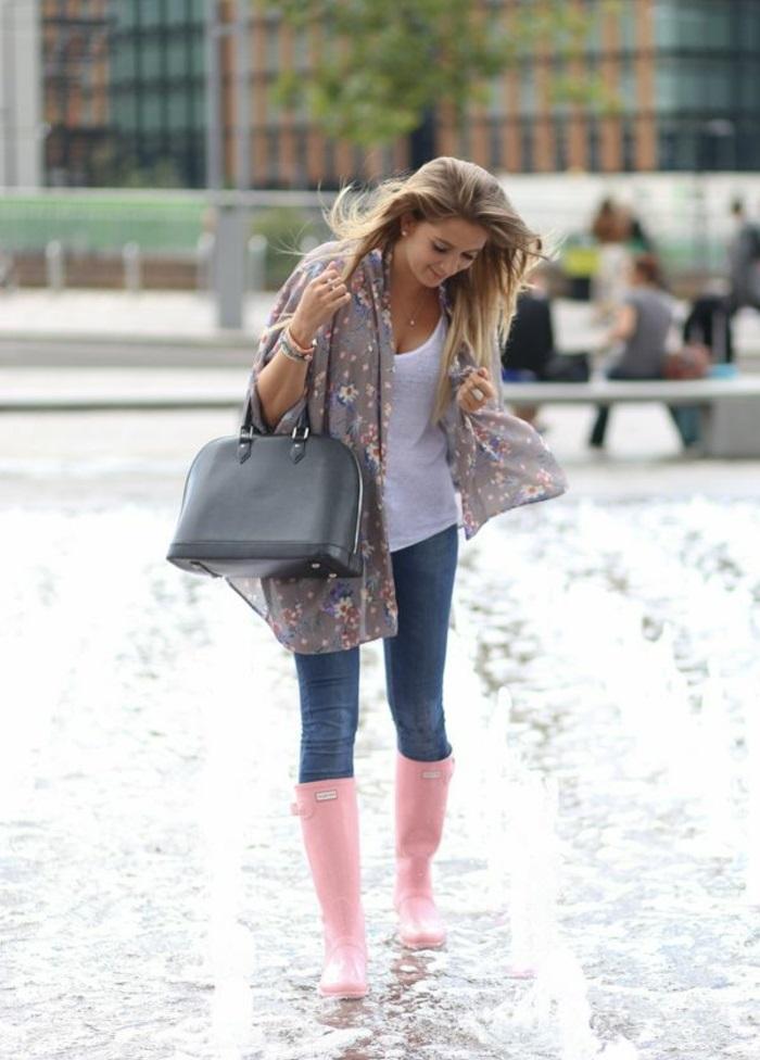 botte-de-pluie-femme-idées-tenue-de-jour-autome-hiver-hunter-boots-roses