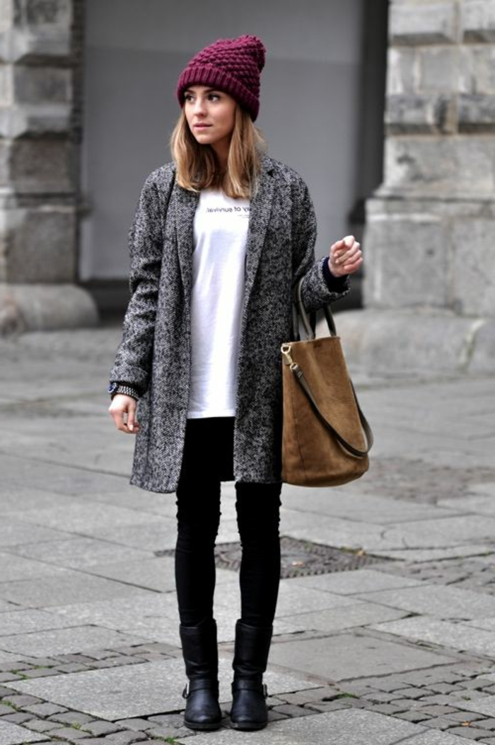 bottine-femme-pas-cher-noir-en-cuir-noir-t-shirt-blanc-jillet-gris
