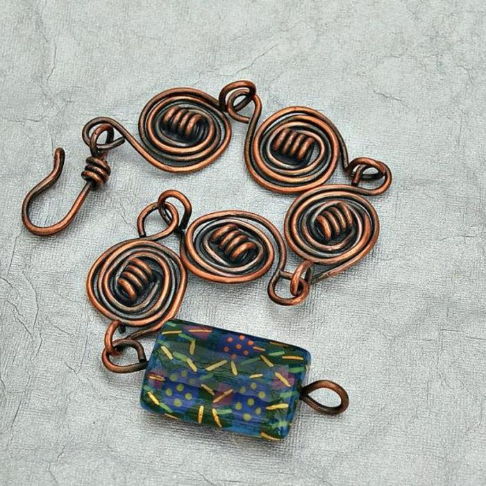 bracelet-en-cuivre-bracelet-en-métal-avec-jolie-pierre