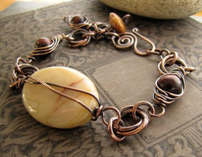 bracelet-en-cuivre-grande-jaune-pierre-incorporée