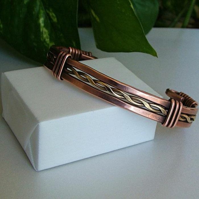 bracelet-en-cuivre-mélange-de-deux-métaux