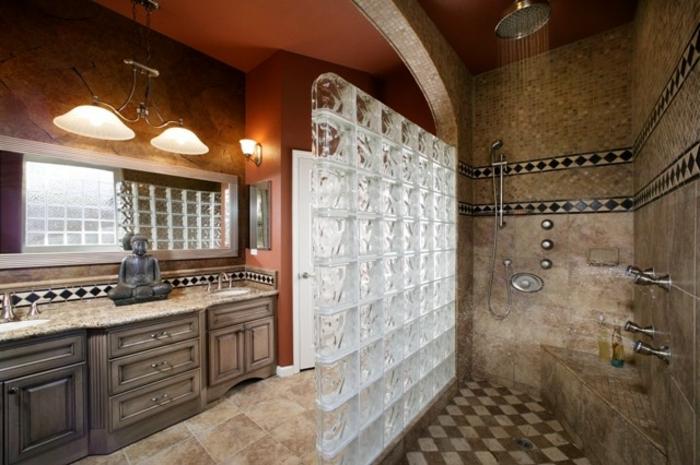 Mettons des briques de verre dans la salle de bains for Cloison separation chambre salle de bain