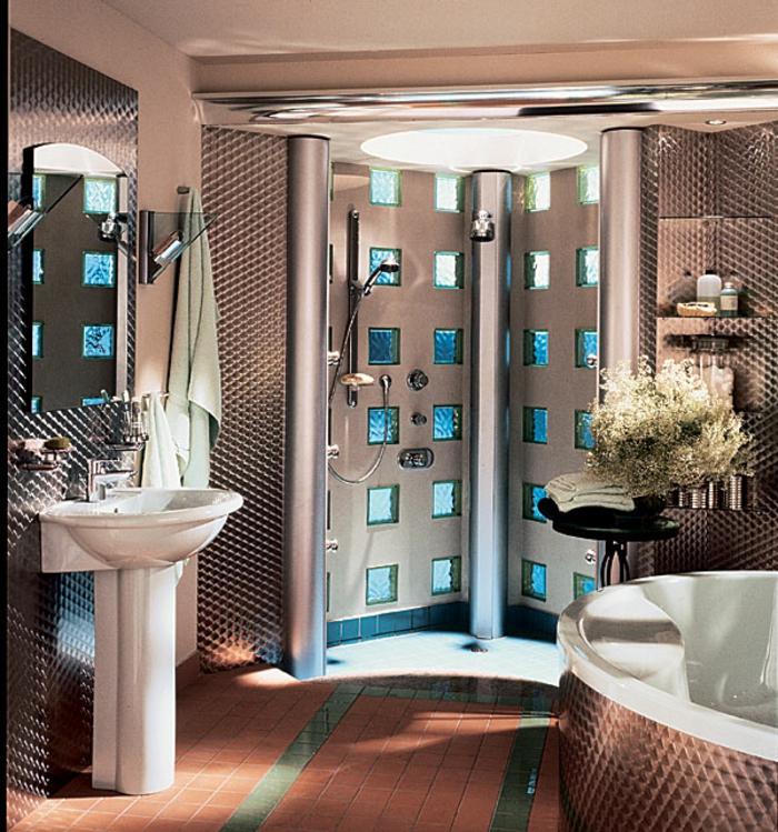 salle de bain avec brique de verre photos  Galerie d