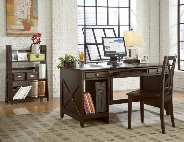 bureau-en-bois-massif-aménagement-d'offices-à-la-maison