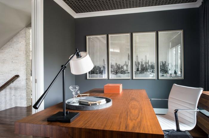 bureau-en-bois-massif-aménagement-contemporain-attractif-mur-en-briques-blanches