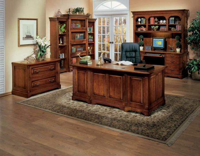 bureau-en-bois-massif-ambiance-jolie-et-cosy-à-la-maison