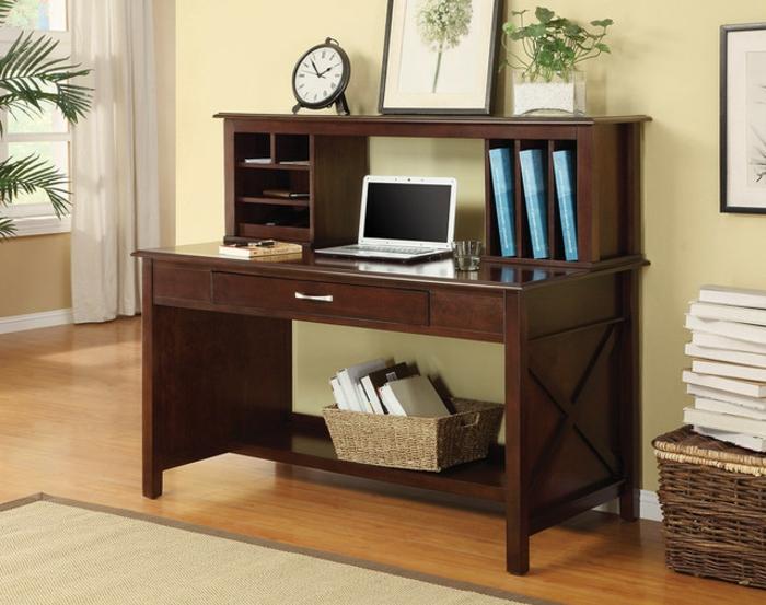Bureau bois moderne travail debout accueil design et - Bureau en bois moderne ...
