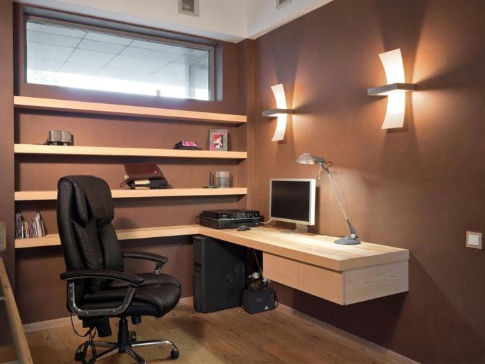 bureau-en-bois-massif-bureau-suspendu-impressionnant-chaise-ergonomique-appliques-murales