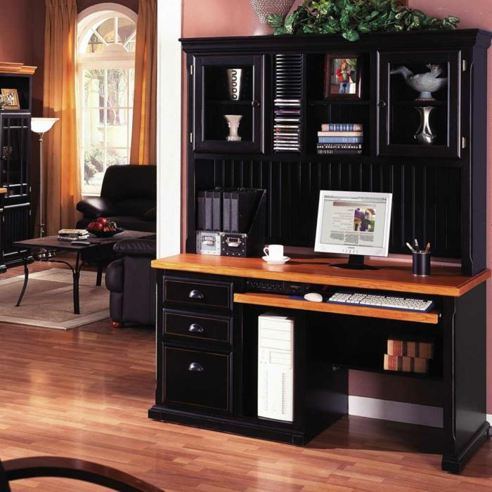 bureau-en-bois-massif-en-marron-et-noir-intérieur-traditionnel-stylé