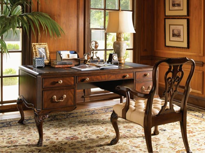 bureau-en-bois-massif-fauteuil-chaise-avec-cuir-capitonné-meubles-baroques-en-bois