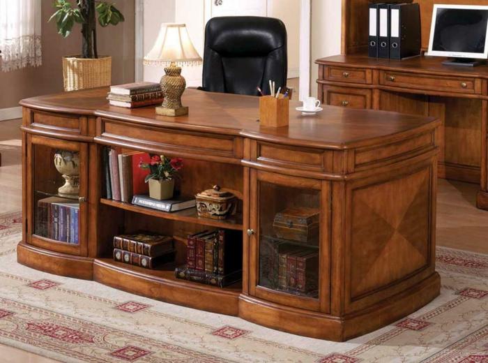 bureau-en-bois-massif-grand-bureau-en-bois-solide-avec-rangement-pour-livres-étagères