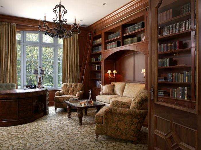 bureau-en-bois-massif-grande-bibliothèque-en-bois-solide-fauteuils-et-sofa