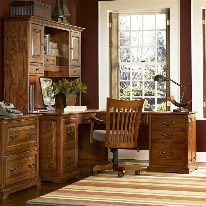 bureau-en-bois-massif-lampe-de-bureau-tiroirs-en-bois-rustiques