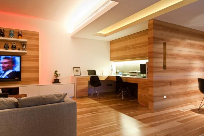 Mur Interieur En Bois Massif : bureau-en-bois-massif-office-de-travail-dans-un-appartement-moderne