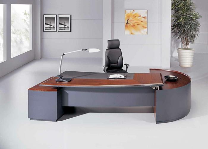 bureau-en-bois-massif-office-gris-plateau-de-bureau-en-bois-foncé