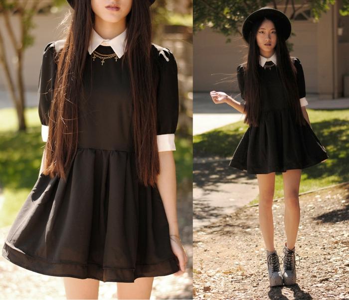 capeline-paille-chapeau-capeline-noire-tenue-de-jour-élégante-robe-noire