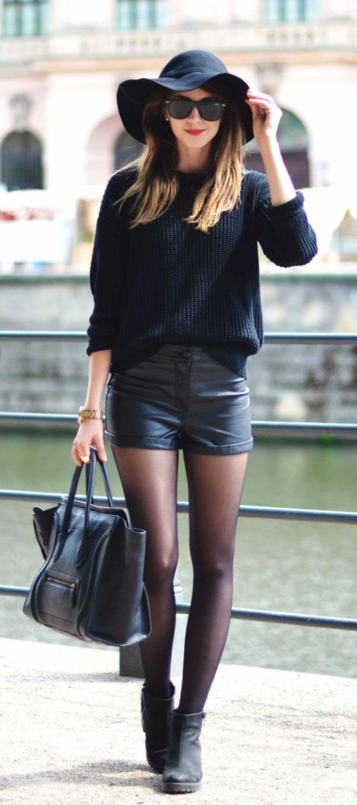 Kurze schwarze lederhose