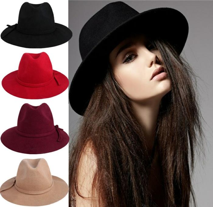 chapeau-capeline-feutre-noir-tenue-du-jour-femme-chique-stylé-différent-couleurs