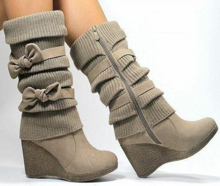 chaussures-compensées-jolies-bottes-semelles-compensées