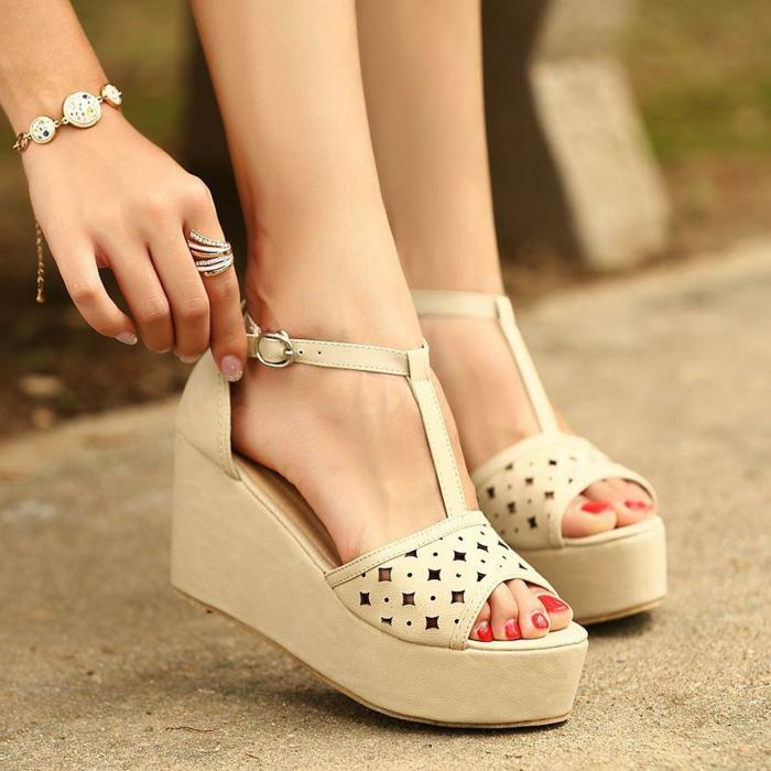 chaussures-compensées-mode-d'été-coréénne
