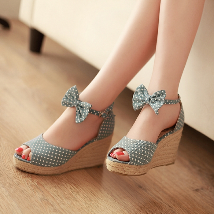 chaussures-compensées-plateforme-jute-dessin-à-points