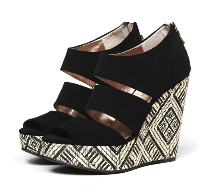 chaussures-compensées-sandales-noires-stylées-semelles-impimées