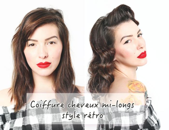 comment faire une coiffure de style rétro, idée coiffure vintage avec ondulations rétro, coiffure facile a faire seule aux cheveux lâchés