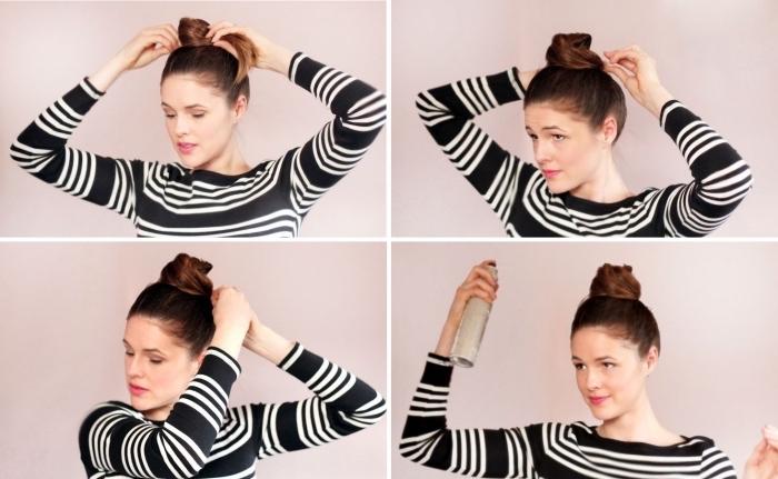 tutoriel coiffure cheveux attachés simple, exemple technique chignon haut pour cheveux mi longs ou longs facile
