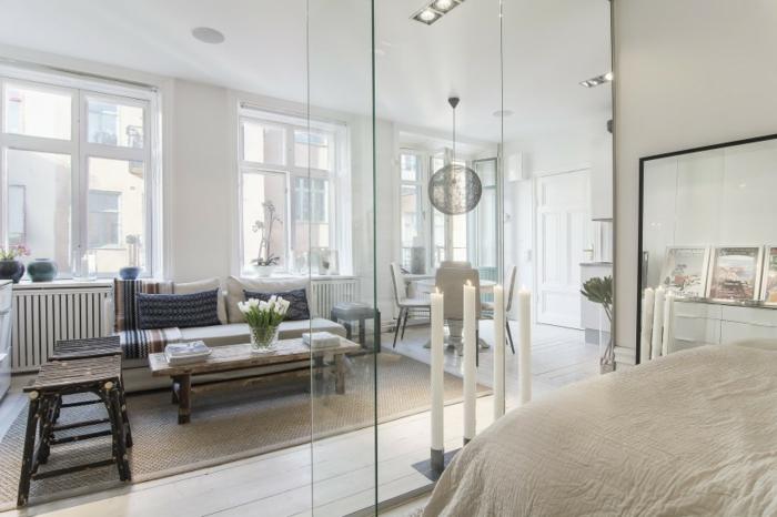 cloison-en-verre-appartement-scandinave-table-et-chaises-en-bois-brut