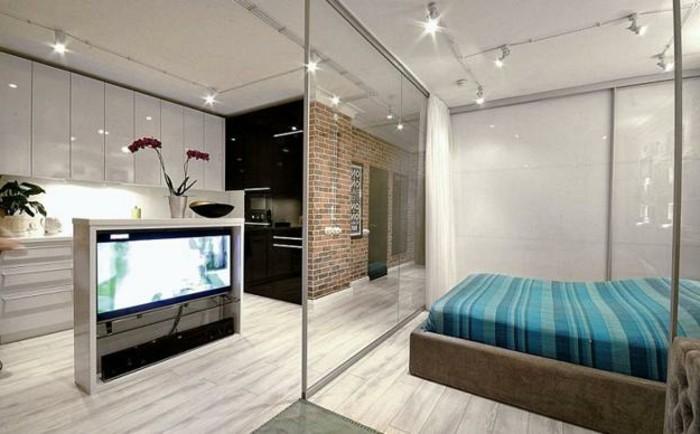cloison-en-verre-décoration-moderne-d'espace-cuisine-et-chambre-à-coucher