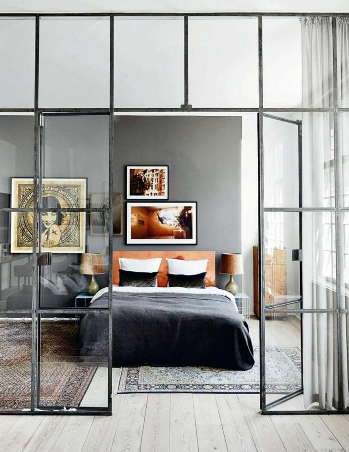 cloison-en-verre-grande-cloison-vitrée-séparant-la-chambre-à-coucher