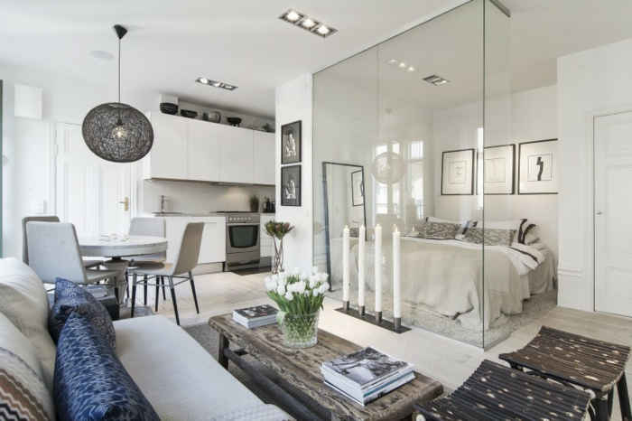 Cloison en verre petit appartement nordique super compacte