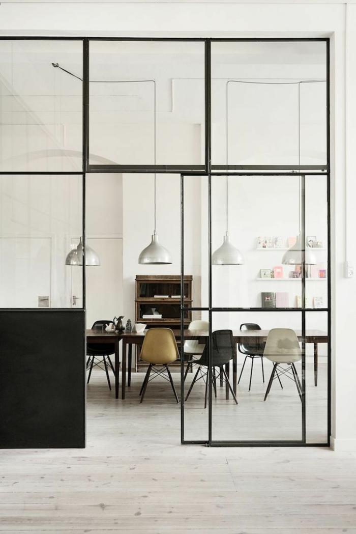 cloison-en-verre-salle-de-déjeuner-loft-haute-cloison-vitrée