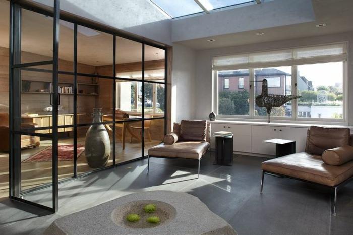 cloison-en-verre-salle-de-séjour-et-cuisine-cloison-de-séparation-vitrée