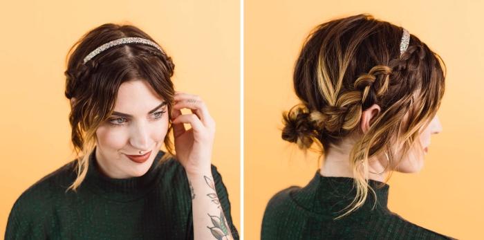 exemple comment s attacher les cheveux en couronne tressée, idée coiffure cheveux longs avec accessoire princesse
