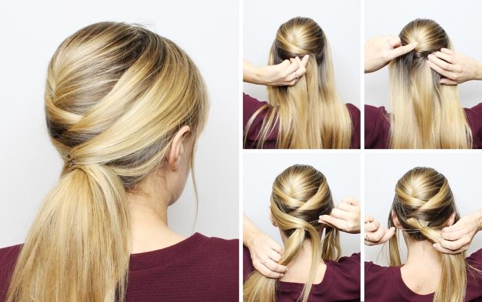 pas à pas coiffure facile a faire seule, diy cheveux attachés en queue de cheval basse avec mèches tressées