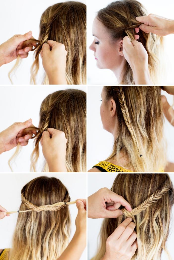 exemple comment faire une coiffure aux cheveux bouclés avec couronne en tresse, tuto coiffure cheveux mi long facile et rapide